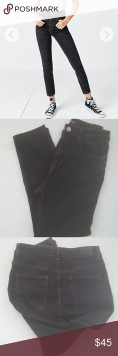 """UO BDG Black High Rise Girlfriend Jean Faded black jeans with a subtle tapered leg. Waist 13 1/2"""" Rise approximately 11 1/2"""" Urban Outfitters Jeans Ankle & Cropped"""
