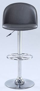 Chintaly Pneumatic Rounded Back Adjustable Stool gorgeous rounded back faux leather adjustable stool, featuring a gas lift system and swivel Features: Gas Lift FunctionalityGray Faux LeatherChrome FinishSwivelFinish: