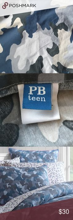 Pottery Barn Teen Twin Duvet and 2 shams Excellent Condition PB Teen Duvet and 2 Shams Blue Camouflage Pottery Barn Teen Other