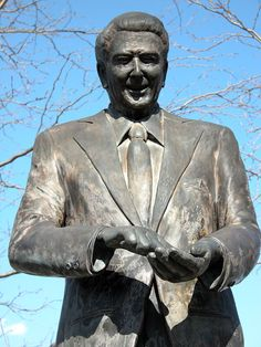 Ronald Reagan statue at Reagan Boyhood home in Dixon, Illinois