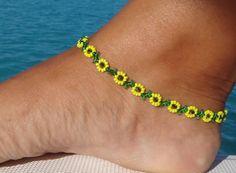 Diy Beaded Bracelets Best Of Anklet Ankle Bracelet Sunflower Daisy Anklet Yellow Flower Ankle. The Effective Pictures We Offer You About DIY Beaded Bracelet wir Diy Beaded Bracelets, Beaded Anklets, Handmade Beaded Jewelry, Beaded Jewelry Patterns, Ankle Bracelets, Custom Jewelry, Wire Jewelry, Pulseras Kandi, Bracelet Making