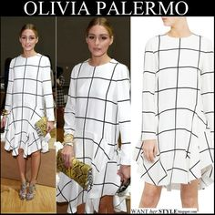 Olivia wore white check print wavy dress by Chloe from the Fall 2014 collection, yellow snake print clutch and strappy ankle sandals