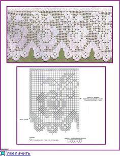 filet Filet Crochet, Crochet Lace Edging, Crochet Borders, Crochet Chart, Thread Crochet, Irish Crochet, Crochet Doilies, Crochet Stitches, Tatting Patterns