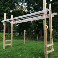 Pergola Kits With Canopy Backyard Fort, Backyard Obstacle Course, Backyard For Kids, Backyard Projects, Outdoor Projects, Backyard Landscaping, Diy Monkey Bars, Kids Yard, Diy Home Gym