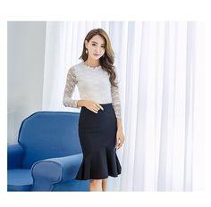 Buy Women Pencil Skirt Fashion Ol Slim Bodycon Skirt Ruffles Hem Mermaid Style Plus Size Ladies Office Skirt at Wish - Shopping Made Fun Mermaid Style, Mermaid Skirt, Office Skirt, Suede Mini Skirt, Types Of Skirts, Body Con Skirt, Skirt Fashion, Plus Size Women, Ol