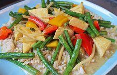 Vegan Thai Tofu Pad Prik - a spicy stir-fried meal with tofu, Chinese long…