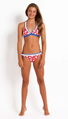 Coco Bay's Seafolly Sweet Cherry Halter Bikini set is so gorgeous for any young teen.  The colour suits any skin tone.