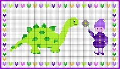 Elf with a dinosaur Cross Stitch For Kids, Cute Cross Stitch, Mini, Cross Stitching, Dinosaur Stuffed Animal, Projects To Try, Art Gallery, Delicate, Kids Rugs