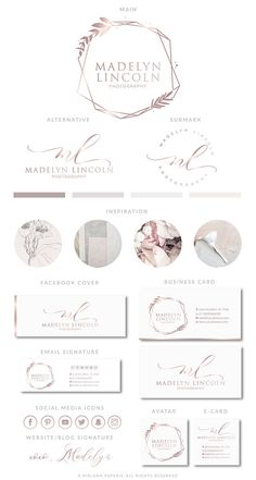 Delicate photography logo mauve gold branding kit premade calligraphy logo design boutique logo geometric floral logos modern logo set winter blues monthly planner sticker kit made to fit the horizontal leafy treetop planner Boutique Logo, Design Boutique, Graphic Design Company, Graphic Design Services, Custom Logo Design, Business Logo, Business Card Design, Logo Geometric, Logo Fotografie