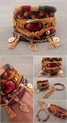 Layering Bracelets Yellow Red Grey Gypsy Bracelet Set