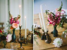 Boho vintage wedding candles flowers