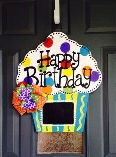 Happy Birthday Cupcake door hanger $40 The Crafty FoxLR