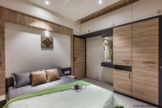 4BHK Apartment With Subtle And Radiant Spaces | S.Mevada Associates - The Architects Diary 4 Bedroom Apartments, Home Instead, Wardrobe Design, Guest Bed, Apartment Interior Design, Design Elements, Architects, Master Bedroom, Upholstery