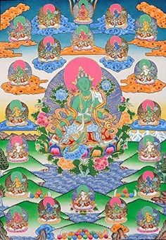 Twenty One Forms of Goddess Green Tara - Tibetan Thangka Painting