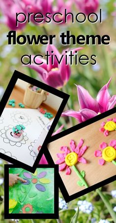 Flower activities for kids. preschool flower theme activity ideas with printables, lesson plans, hands-on play ideas Preschool Flower Theme, Flower Activities For Kids, Spring Activities, Crafts For Kids, Kids Diy, Toddler Crafts, Lesson Plans For Toddlers, Preschool Lesson Plans, Preschool Activities