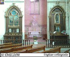 33St-EMILION eglise collégiale- 1) LEO DROUYN, AUTELS DE L'EGLISE COLLEGIALE: Les autels offrent peu d'intérêt. Celui de la Ste Vierge est gothique moderne. Le grand autel et le calvaire qui est au-dessus du Trésor ne sont pas digne d'un coup d'oeil. Entre la seconde et la troisième travée du bas-côté méridional, travées séparées par un grand mur du XIV°s, dans lequel on a ménagé une ouverture qui part du sol et monte jusqu'à la voûte, on a appliqué 2 autels.