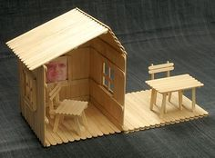 Popsicle stick house with table and chairs   DIY family