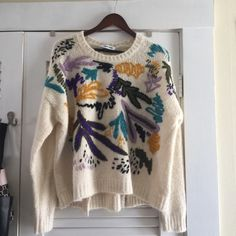 UNREAL ELIZABETH AND JAMES EMBROIDED SWEATER Retails at 288 at saks! In new condition ! Never worn! Grab a deal Elizabeth and James Sweaters Crew & Scoop Necks