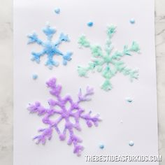 winter kids crafts SALT PAINTED SNOWFLAKES - these are so fun to do! Such a fun winter activity for kids. A perfect winter craft for kids. Winter Activities For Kids, Winter Crafts For Kids, Christmas Crafts For Kids, Craft Activities, Diy For Kids, Christmas Diy, Chritmas, Winter Kids, Kids Fun