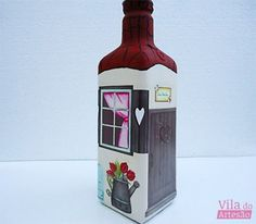 Glass Bottle Crafts, Glass Bottles, Decoupage Jars, Recycled Decor, Popcorn Maker, Stained Glass, Glass Art, Diy And Crafts, Recycling
