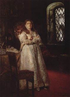Ilya Repin's 1879 painting portrays Sophia after her fall from power, confined to a cell in the Novodevichy Convent. Also in the painting, outside the window, a hanging Strelets shows the fate of those who sought to reinstate her.