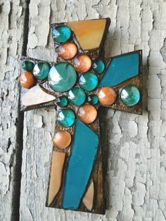 Cross made with stained glass and beads but not grouted