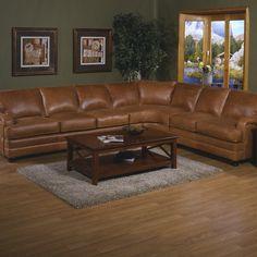 Omnia Furniture Pantera Leather Right Facing Sectional & Reviews   Wayfair