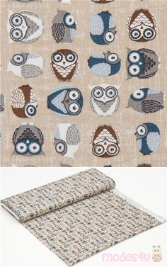 "light taupe cotton fabric with owls in blue, grey, white, brown, Material: 100% cotton, Fabric Type: smooth cotton fabric, Pattern Repeat: ca. 10.3cm (4.1"") #Cotton #Animals #AnimalPrint #Owls #OekoTex #ScandinavianFabrics"