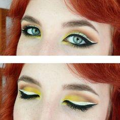 Yellow smokey eye with black & white eyeliner.