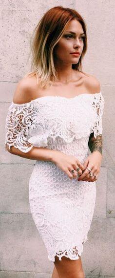 White Lace Off Shoulder Dress by Caroline Receveur & Co Shower Outfits, Shower Dresses, Elegante Jumpsuits, Rehearsal Dinner Dresses, Estilo Boho, Little Dresses, The Dress, White Lace, Boho Fashion