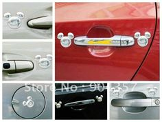 3D Mickey Mouse Car Stickers and Decals Three-dimensional metal Car Accessories 4 set=8 pcs