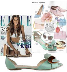 Sandália rasteira verde menta na revista Elle - Guilhermina na Mídia