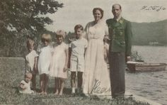 Archduke Anton of Austria with his wife Princess Ileana of Romania and their four oldest children together during a summer day at Wörthsee. Summer Days, Summer Time, Austria, Queen Victoria Descendants, Romanian Royal Family, Ferdinand, Luftwaffe, Adele, Reign