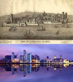 Liverpool skyline 1680 and now! Liverpool Skyline, Liverpool Waterfront, Liverpool Town, Liverpool Docks, Liverpool History, Local History, Taj Mahal, Beautiful Places, The Past