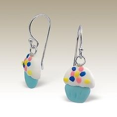 Cup Cake Dangle Earrings   Sterling Silver Post