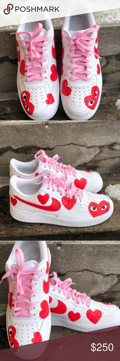 Valentine's Day Custom Air Force ones Color changing custom made  Valentine's Day Air Force ones Nike