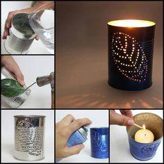Make Garden Lanterns from Old Tin Cans DIY Garden Lanterns! Tin Can Lights, Tin Can Lanterns, Garden Lanterns, How To Make Lanterns, Recycled Tin Cans, Recycled Crafts, Recycled Clothing, Recycled Fashion, Repurposed