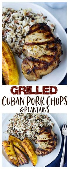 Grilled Cuban Pork Chops are marinated in a delicious blend of flavors including orange, lime, fresh herbs and spices then grilled to perfection. This recipe will give you intensely flavored, juicy pork chops every time. Grilled plantains make the perfect Pork Recipes For Dinner, Pork Chop Recipes, Salmon Recipes, Grilling Recipes, Cuban Recipes, Kiwi, Best Pork Recipe, Cuban Pork, Pork