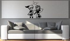 Toon Link and Zelda Decal -Legend of Zelda inspired removable vinyl wall decal