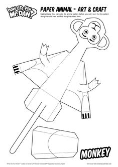 Paper Animal - Monkey - Art & Craft - How Are You, Mr. Dan? - Learn English Note By Note