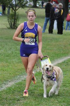 After repeated requests by her coaches at Lexington High to the Ohio High School Athletic Association, Sami Stoner was granted a waiver allowing her to run cross country while using her guide dog, Chloe. Stoner is legally blind as a result of macular degeneration. Courtesy of the stoner family