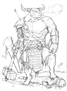 Minotaur by Max-Dunbar on deviantART armor clothes clothing fashion player character npc | Create your own roleplaying game material w/ RPG Bard: www.rpgbard.com | Writing inspiration for Dungeons and Dragons DND D&D Pathfinder PFRPG Warhammer 40k Star Wars Shadowrun Call of Cthulhu Lord of the Rings LoTR + d20 fantasy science fiction scifi horror design | Not Trusty Sword art: click artwork for source