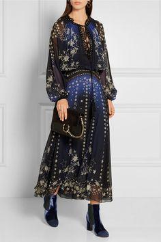Roberto Cavalli | Embellished printed silk-chiffon maxi dress | NET-A-PORTER.COM