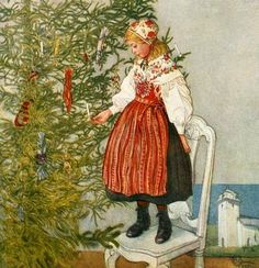 Carl Larsson...Trimming the tree
