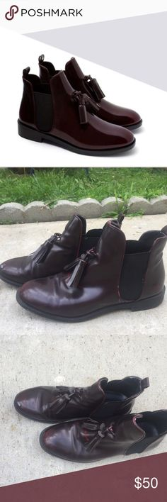 Zara Burgundy Tassel Booties Adorable Zara Burgundy tassel Booties!!! Matches almost every outfit and adds a lot to each outfit! Worn a few times as shown in pictures. There are also some scratches. Size 39 but they fit like an 8. Zara Shoes Ankle Boots & Booties