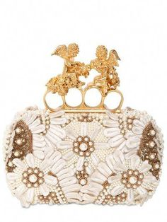 Alexander Mcqueen Seasonal Knuckle Box Clutch Skull Scamosciato in White (ivory) Alexander Mcqueen Clutch, Embroidered Silk, Beautiful Bags, Beautiful Handbags, Clutch Purse, Evening Bags, Evening Clutches, Handbag Accessories, Fashion Bags