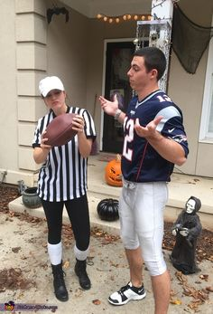 Meredith: My fiancé and I decided with all of the drama with Tom Brady and the deflated football scandal this year, it would only be appropriate to dress up like him!...