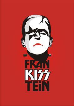 Frankeinstein with Kiss makeup Art Poster Arte Pop, Rock And Roll, Rock Poster, Kiss Art, Hot Band, Bride Of Frankenstein, Classic Monsters, Cultura Pop, Art Music