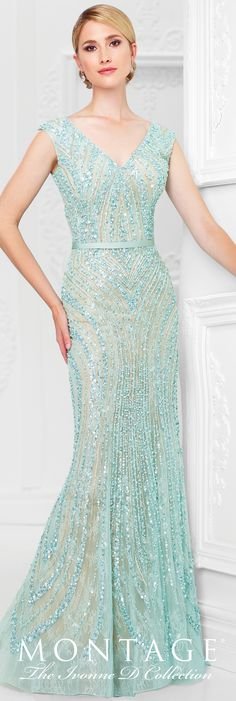ebfd717f6760c4 Ivonne D Exclusively for Mon Cheri - 117D69 - Tulle overlay sheath  encrusted with hand-