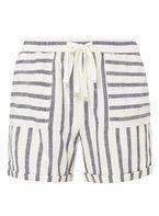 Womens **Tall Blue Striped Linen Shorts- Blue